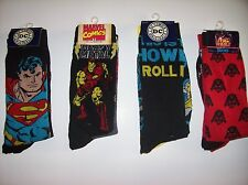 Socks Mens DC Marvel Lucas Select from Superman IronMan Batman Star Wars 2pk NIP