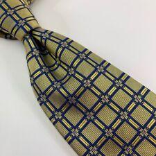 Equestrian Mens Classic Necktie Yellow Blue Geometric 100% Silk 3 3/4 x 57 New