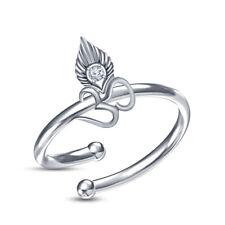 Sterling Silver 14K White Gold Over Diamond Lord Om Krishna Adjustable Ring 925