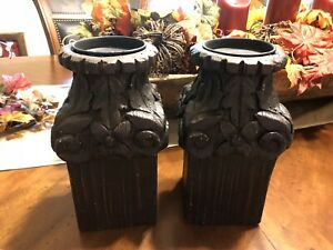 Architectural Wood Column Pillar Candle Holders Faux Wood Rustic Black Pedestal