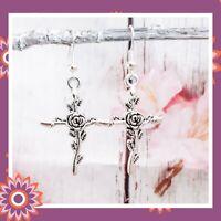 Bat Earrings Bats Goth Gothic Drop Hook Dangly Gift Jewellery Halloween October