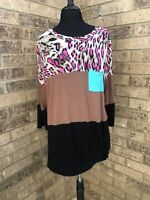 Lilypad Pink Leopard Print Color Block 3/4 Sleeve Tunic Top Women's Plus Size 1X