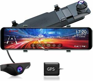 """Mirror Dash Cam for Cars, FHD 1080P 11"""" Touch Screen Front and Rear Dual Lens"""