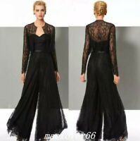 Black Lace Jumpsuit Mother Of The Bride Pant Suits With Jackets Evening Party