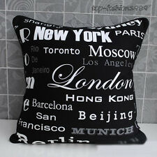 "New York City Name Canvas Throw Pillow Case Decorative Cushion Cover 18""x18"" - B"