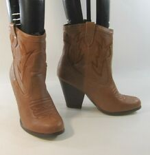 "new ladie Tan 3.5""HighThick High Heel Round Toe Sexy Cowboy Ankle Boots Size 5.5"