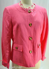 Evan Picone linen coral blazer jacket resort cover light coat melon 8 M VTG NEW