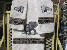 Elephant (Embroidered) Towel Set
