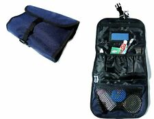 LARGE TRAVEL WASH BAG navy blue shower kit pouch camping hiking holiday pack