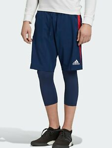adidas Tango Soccer shorts with built-In tights Blue Red Men's Size Large NEW !