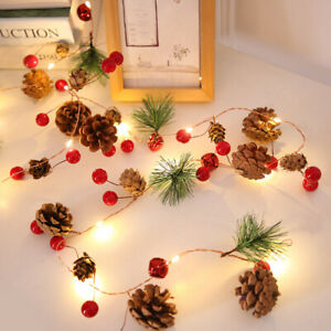 7ft Christmas Pine Cone Garland Berry String Light Fairy Battery Copper Tree LED