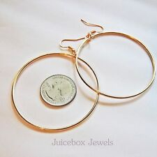 ROSE GOLD Plated Thin Rounded 2.25 inch PIERCED Fish Hook Hoop Earrings B29