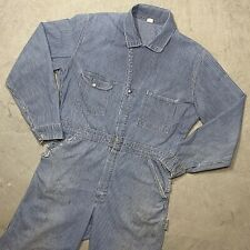 Vintage 1950s Sanforized Coverall Hickory Stripe Sz 40 Gripper Zipper Distressed