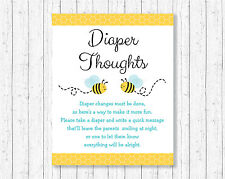 Bumble Bee Diaper Thoughts Late Night Diaper Baby Shower Game