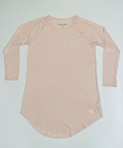Calvin Klein Women's Logo Loungewear/Nightdress Long Sleeve Pale Pink (RRP £60)