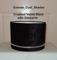 Handmade Lampshade Crushed Velvet Black fabric with Diamante Ribbon 20 30 40 cm