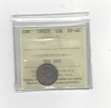 1882H, ICCS  Graded Canadian,  10  Cent, **EF-40**