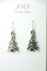 Christmas Tree Charm earrings holiday .925 sterling silver hooks Pewter Charms