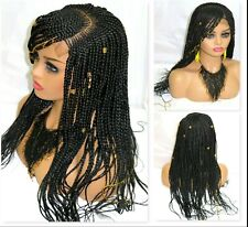 """Braided wig 4"""" by 4"""" Frontal Closure Handmade Black Wig Lace Front Cornrows"""