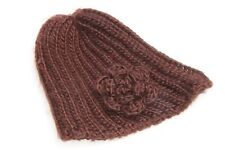 Ladies Cosy Warm Knitted Brown Winter Beanie Hat with Knitted Flower (S281)
