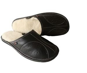 Men's Sheepskin Slippers Mule Slip On Shoe Black Leather Wool Size 7-13 Moccasin