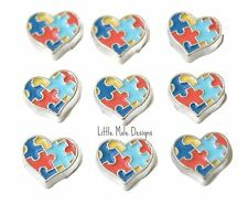 Heart Autism Awareness Floating Charm For Living Memory Locket Necklace Pendant