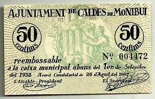 GUERRA CIVIL (NOTGELD). CALDES DE MONTBUI. 50 CENTIMOS DE 1937 (SC)