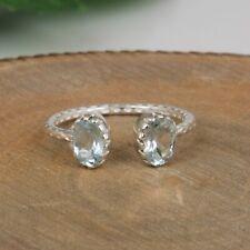 Handmade Textured 925 Sterling Silver Topaz Blue Gemstone Adjustable Ring
