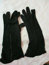 Vintage 1940's Van Raalte Cotton Ladies Gloves black gathered wrist size 7 1/2