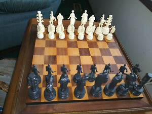 Elegant, Walnut & White Maple Chess Board & Renaissance 4 1/2 high Chess Pieces