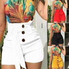 Femmes fille Shorts taille haute Casual Summer extensible chaud court pantalon W