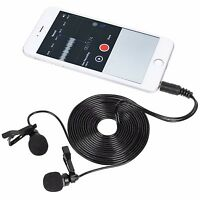 3.5mm Lapel Mini Microphone Mic Dual Headed Clip-on Mic Stereo Gifts For Moblie