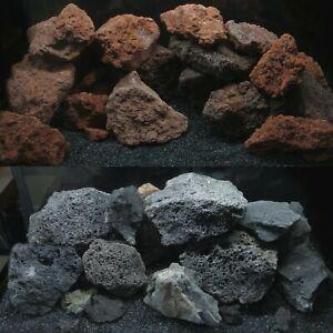 Aquarium Natural Lava Rock IWAGUMI Stone Malawi Fish Tank Decor RED & BLACK