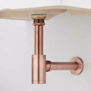 Brass Round Bottle Modern P Trap Rose Gold/Antique Basin Sink Waste Trap Drainer