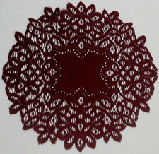 "Heritage Lace Artistry Burgundy (2) 13"" Round Cut Work Style Doilies"