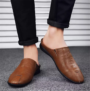 Men Flats Leather Half Slippers Loafers Casual Summer Lightweight Mules Shoes