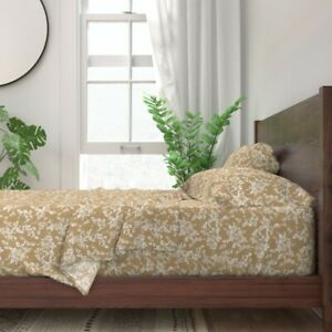 White Floral Botanical on Tan Brown 100% Cotton Sateen Sheet Set by Spoonflower