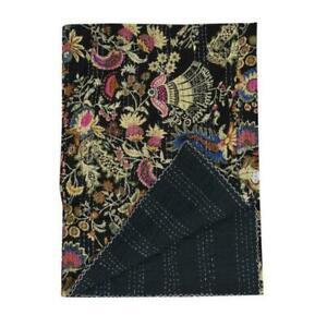 Indian Handmade Kantha Blanket Black mukut Print Quilt Bedspread Throw Cotton