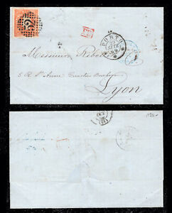 1869 Portugal Cover from Porto to Lyon, France. Luis I 80r. Af# 32.
