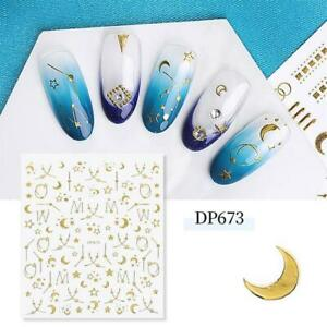 Nail Art Water Decals Stickers Gold Sun and Moon Stars Zodic Space Lace (DP673)