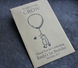 Winnie the Pooh-Personalised Seed Packets-Envelopes-1st Birthday-Party Favours