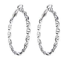Clip su orecchini a cerchio-argento Orecchino Cerchi in un Contorto Corda Design-Dawn S