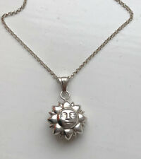 Solid Silver 925 Puff Sun Pendant On Chain