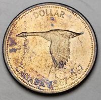 1967 CANADA SILVER DOLLAR GOOSE CHOICE BU TONED UNC COLOR GEM #41 (DR)