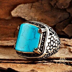 Men Turquoise Navajo Cobblestone Cocktail Ring Silver Blue Stone Square Band NEW