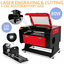 80w CO2 Laser Engraving Machine With Rotary Axis Usb Port 230mm Track Engraver