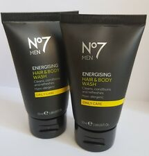 2 x No7 Men Energising Hair and Body Wash Daily 50ml ideal for travel