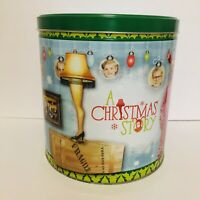 A Christmas Story Movie Empty Popcorn Tin Collectible Ralphie Leg Lamp Pictorial
