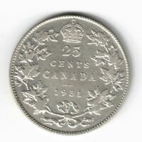 CANADA 1931 TWENTY FIVE CENTS QUARTER KING GEORGE V .800 SILVER COIN