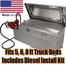 Diesel Fuel Transfer Tank, Auxiliary Tank & Toolbox Combo - 51 Gallon - 12V Pump